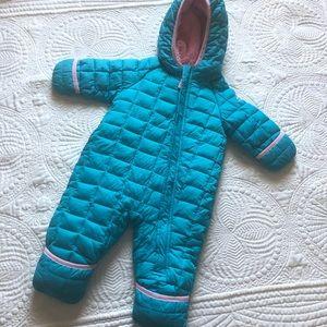 SNOZU Baby Snowsuit Teal Pink Zip Up Hooded Puffer Fleece Size 3-6 Months